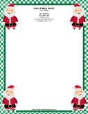 Four Santas Green Border