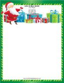 Happy Santa Green Candy Cane Border