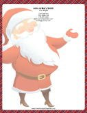 Large Smiling Santa Plaid Border