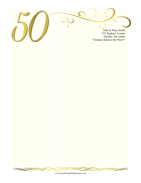 50th Anniversary Stationery stationery design