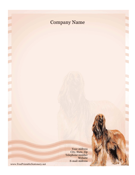 Afghan Hound stationery design