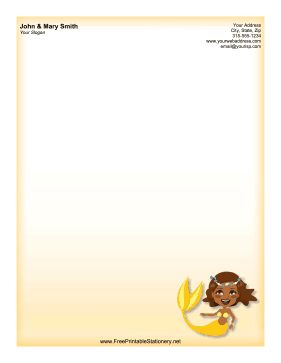 African American Mermaid stationery design