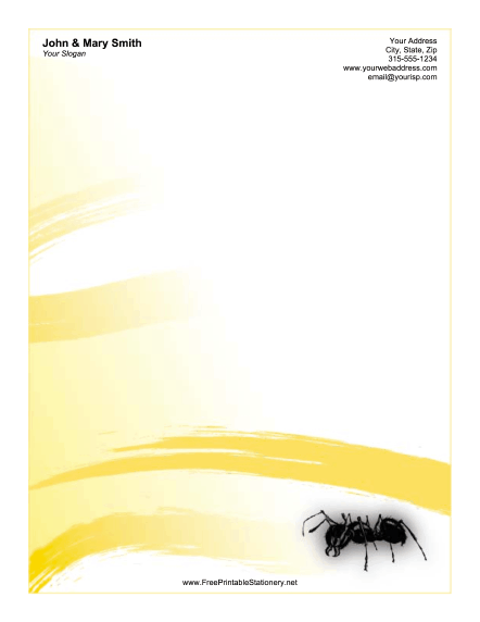 Ant Yellow stationery design