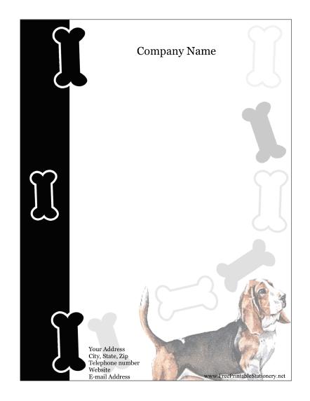 Basset Hound stationery design