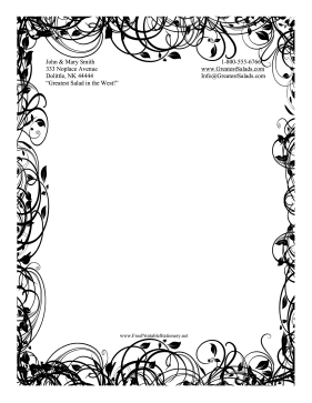 picture regarding Free Printable Stationery Black and White referred to as Black And White Leaf Stationery Stationery