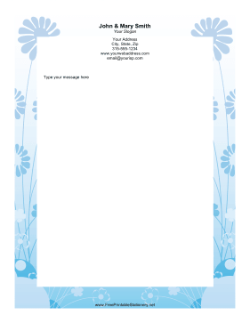 Blue Daisy stationery design