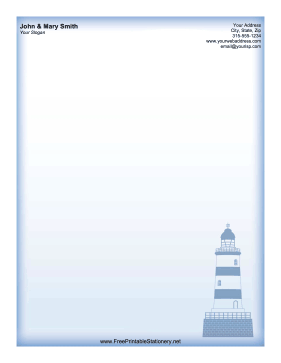 Blue Lighthouse stationery design