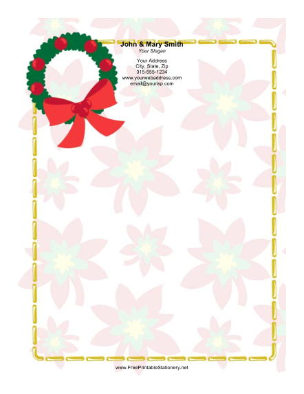 Bright Green Wreath stationery design