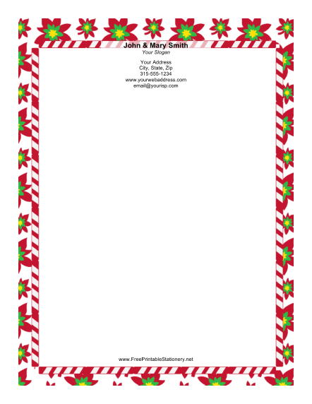 Bright Poinsettias stationery design