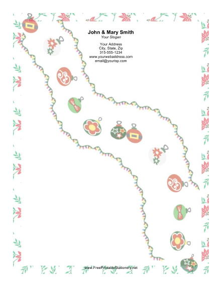 Cascade of Ornaments stationery design