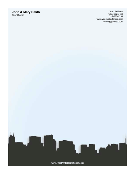 Chicago Skyline Blue stationery design