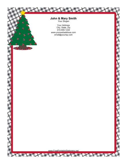 Christmas Tree Gold Star stationery design