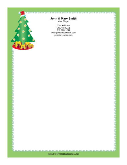 Christmas Tree with Gifts stationery design