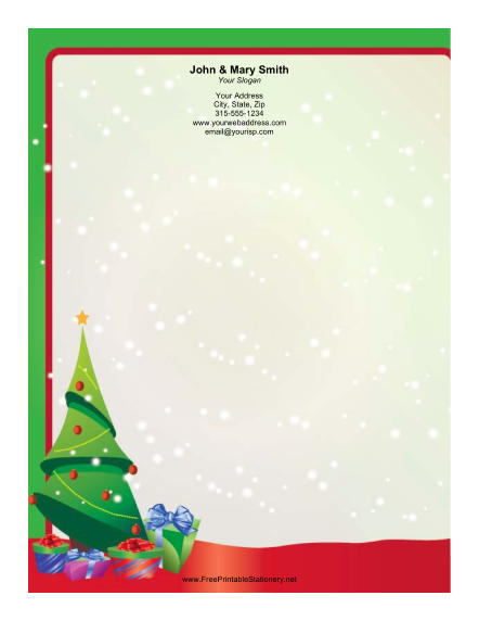 Christmas Tree with Presents stationery design