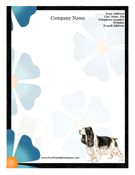 Cocker Spaniel stationery design