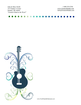 Colorful Guitar Stationery stationery design