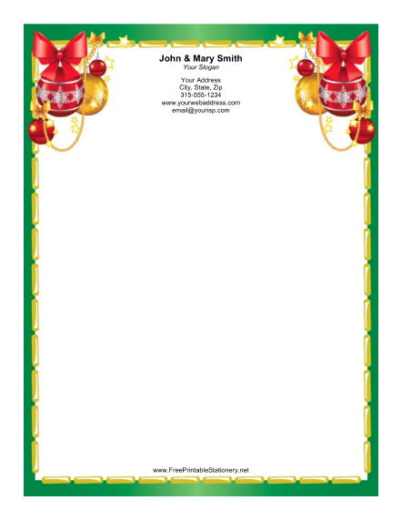 Colorful Ornaments Gold Green Border stationery design