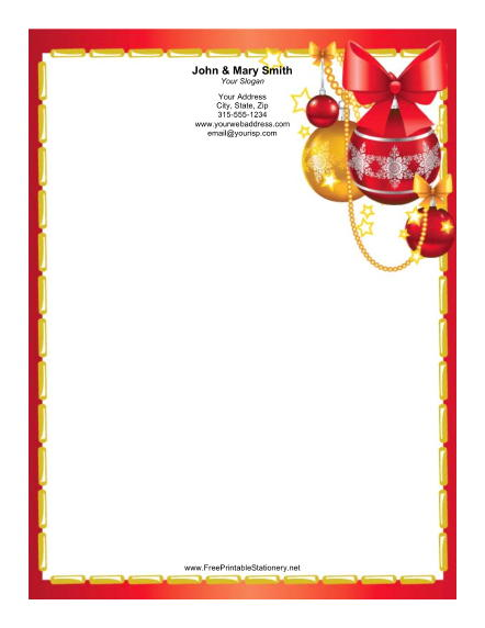 Colorful Ornaments Gold Red Border stationery design