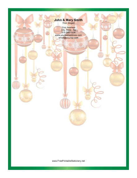 Colorful Ornaments Green Border stationery design