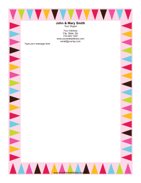 Colorful Pennants stationery design