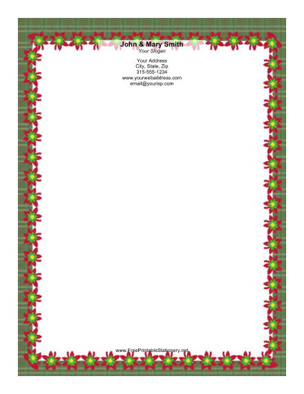 Colorful Poinsettias stationery design