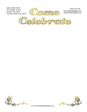 Come Celebrate Stationery stationery design