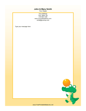 Crocodile with Balloon stationery design