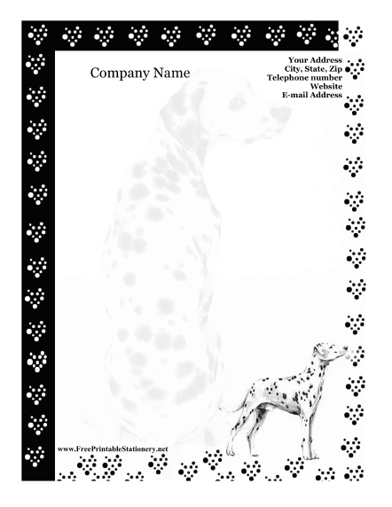 graphic regarding Free Printable Stationery Black and White referred to as Dalmatian Stationery