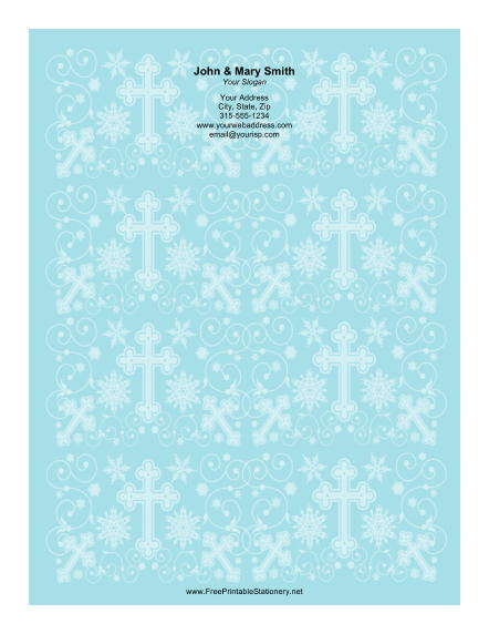 Different Sized Crosses Blue Background stationery design