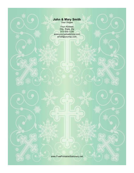 Different Sized Crosses Green Background stationery design