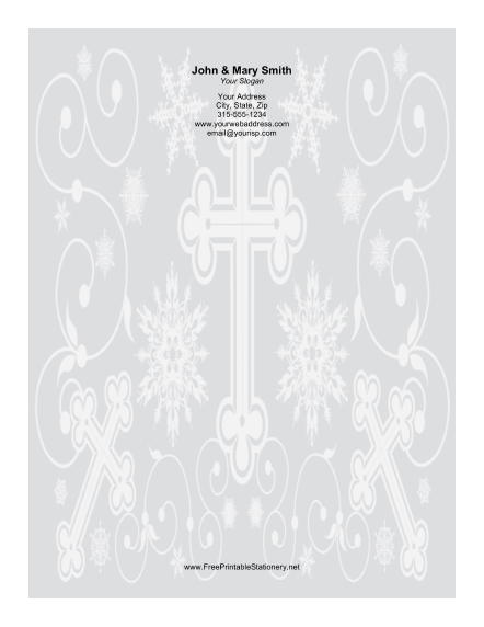 Different Sized Crosses Ornate Background stationery design