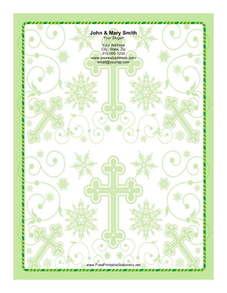 Different Sized Crosses Ornate Green Background stationery design