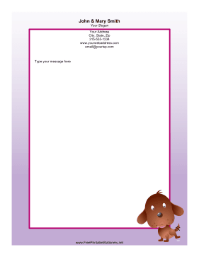 Dog Purple stationery design