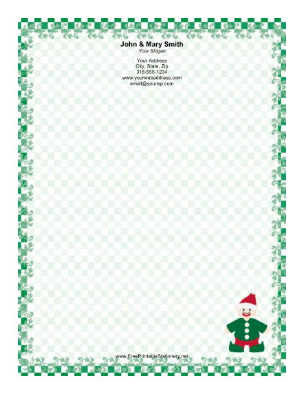 Elf in Green stationery design