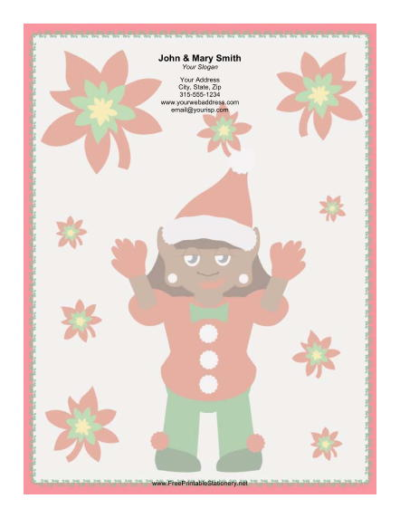 Elf in Red and Green stationery design