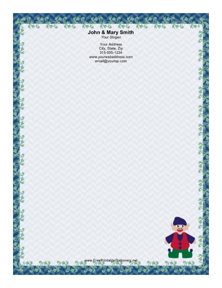 Elf with Floppy Hat stationery design