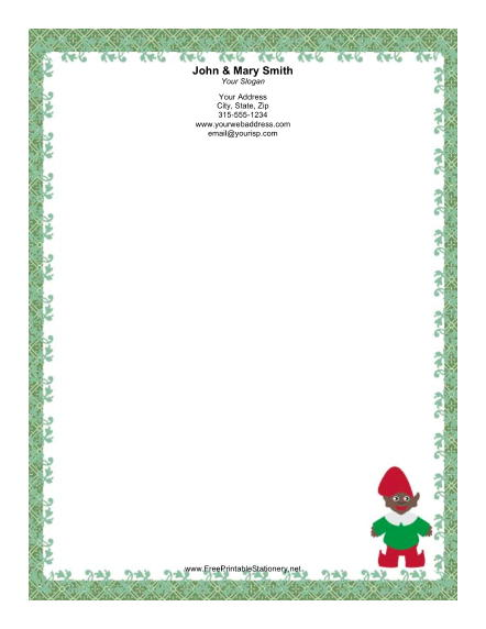 Elf with Green Border  stationery design