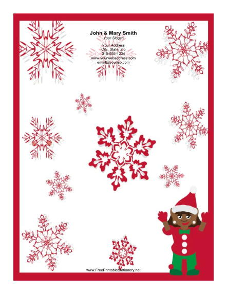 Elf with Red Snowflakes stationery design