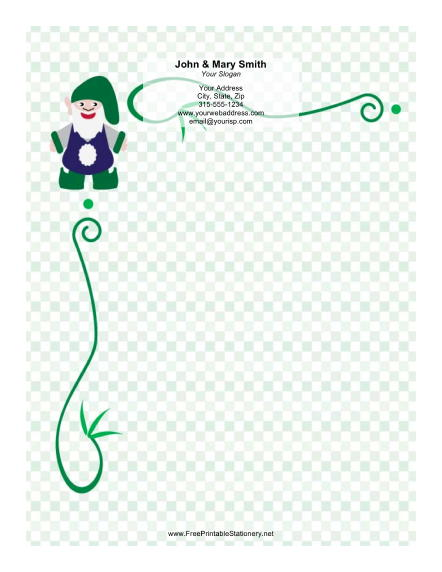 Elf with floppy Green Hat stationery design