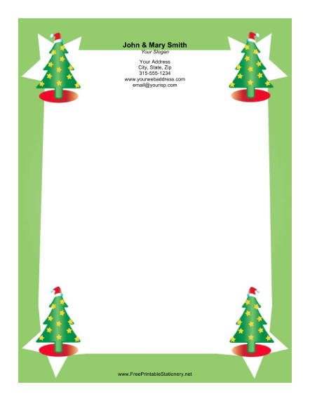 Four Christmas Trees stationery design