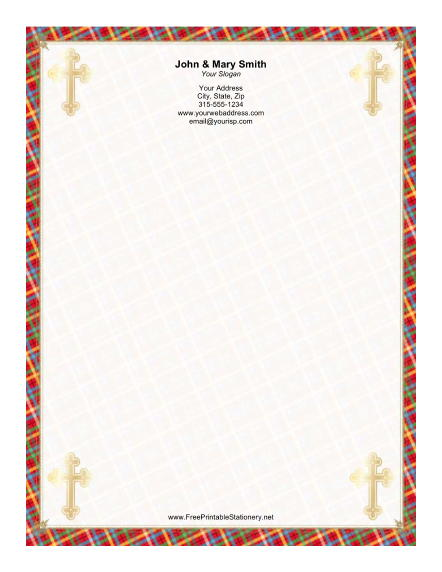 Four Gold Crosses stationery design