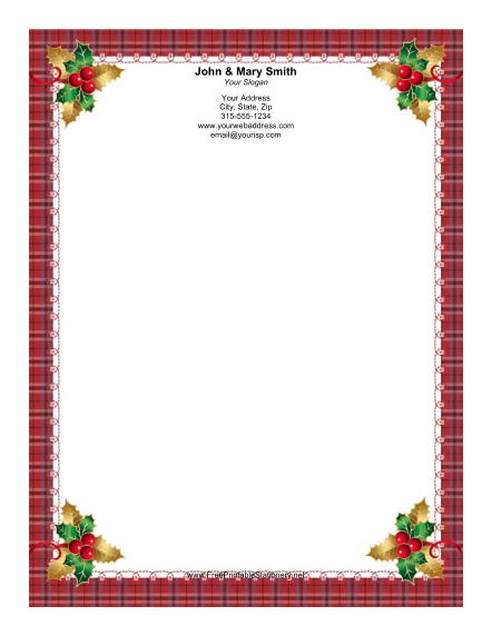 Four Holly Sprigs stationery design
