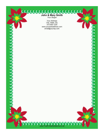 Four Poinsettias stationery design