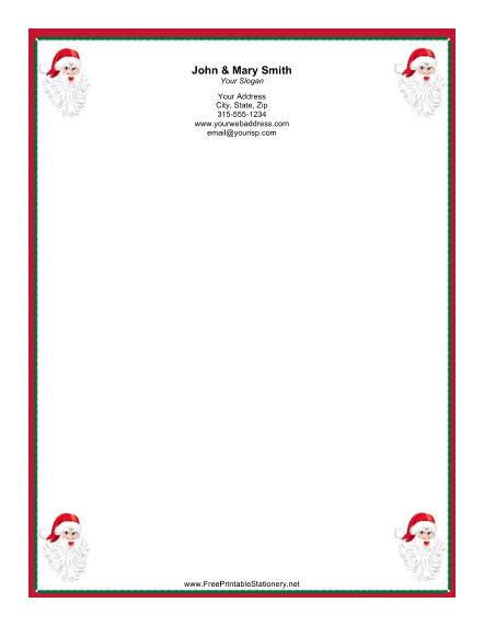 Four Santas stationery design