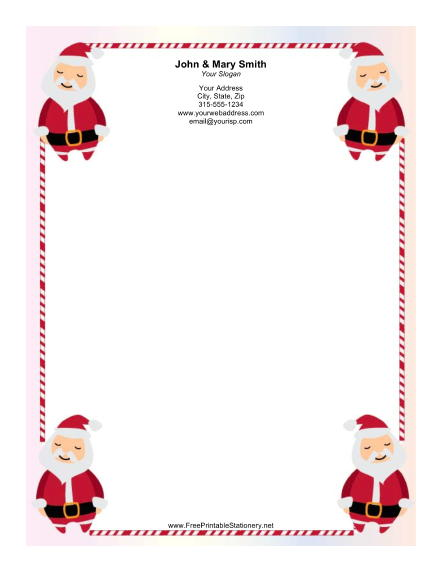 Four Santas Candy Cane Border stationery design