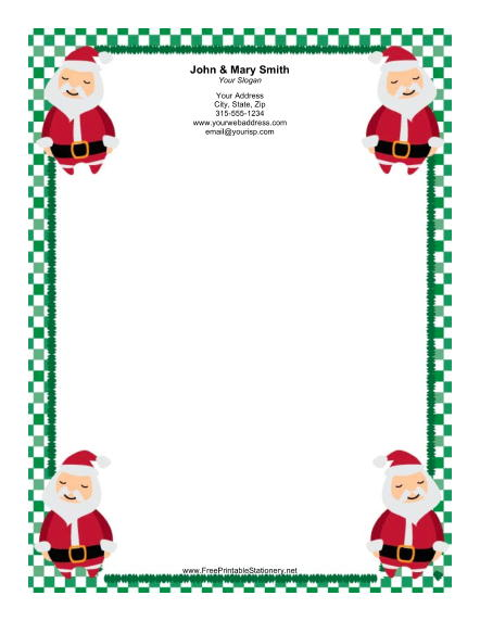 Four Santas Green Border stationery design