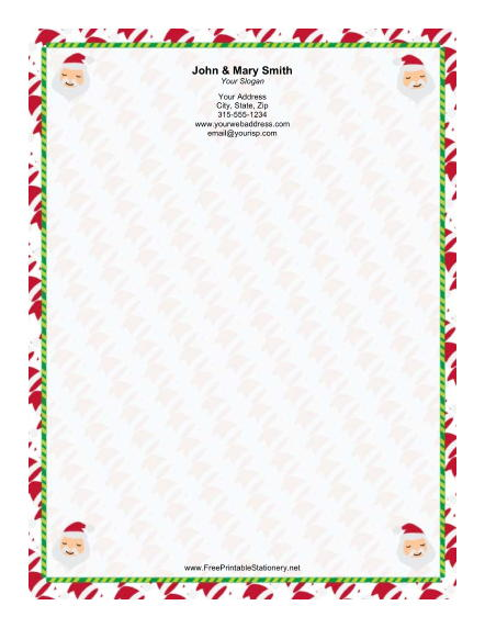 Four Small Santas Candy Cane stationery design