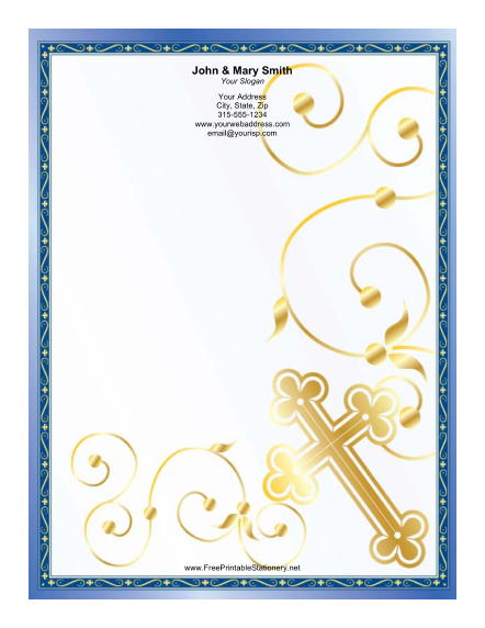 Gold Cross Blue Border stationery design