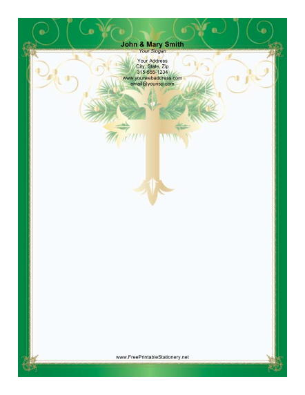 Gold Cross Green Border stationery design