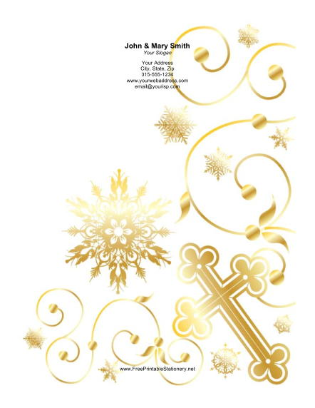 Gold Cross Ornate Background stationery design